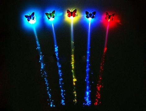 12 Butterfly Flashing Light Up LED Fiber Optic Hair Clips