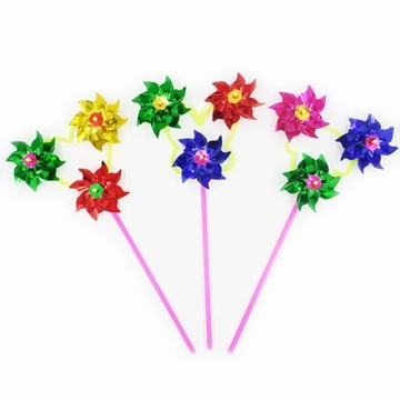 100Sets Plastic Colourful 3 Head Flower Windmill