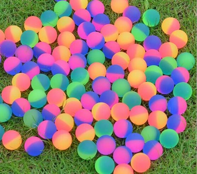 100X Frosted Rubber Bouncing Balls 30mm Mixed Color