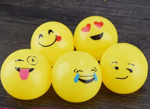 12 Funny Squishy Vivid Yellow Smile Face Sticky Toys Mixed