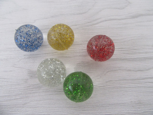 100 Funny Shiny Glitter Rubber Bouncing Balls 25mm Dia.