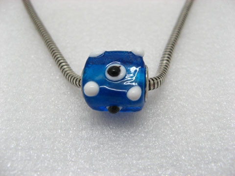 50 Blue Murano Cubic Glass Pandora Beads With White Dots