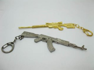 18X Metal Gun Shape Key Rings With Display Cases