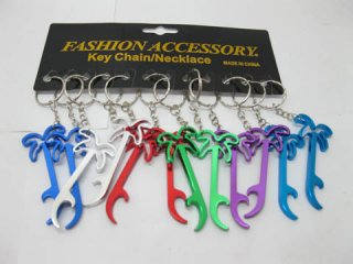 12 Aluminium Coconut Tree Bottle Opener Key Ring Mixed Colour