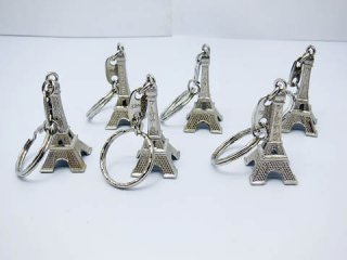 50Pcs New Nickle Plated France Eiffel Tower Key Rings