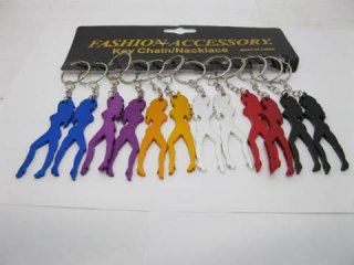 12 Aluminium Alloy Belle Beauty Key Rings Mixed Colour