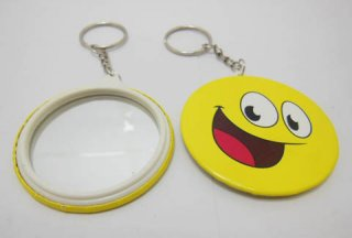 12 Smile Face Mirror Back Key Ring Keyrings