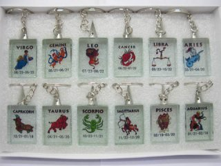 12 Chinese 12 Zodiac Symbols Glass Key rings