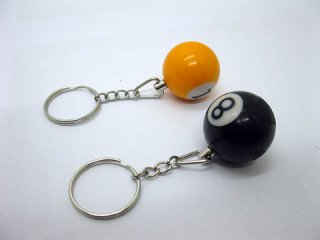 16 Billiard Ball 25mm Dia. Key Rings Mixed Colour