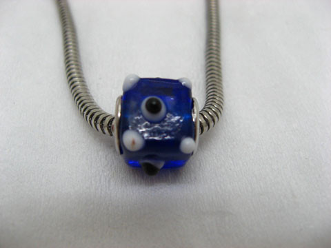 50 Blue Cubic Glass Pandora Beads with White Dots be-g367