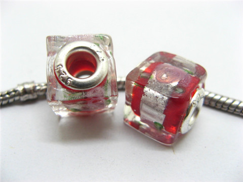 50 Red Silver Flower Cube Glass Pandora beads
