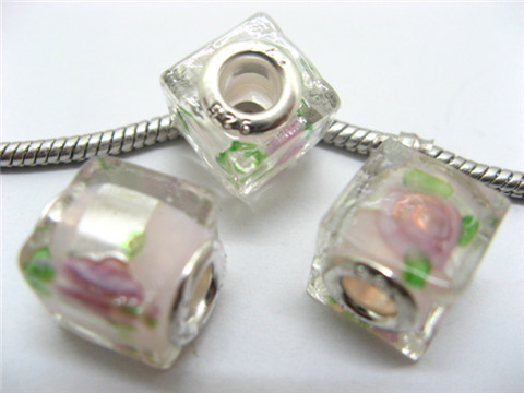 150 Light Pink Silver Flower Cube Glass Pandora beads
