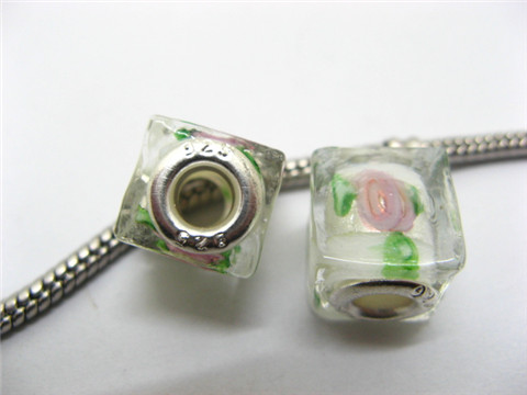 50 White Silver Flower Cube Glass Pandora beads