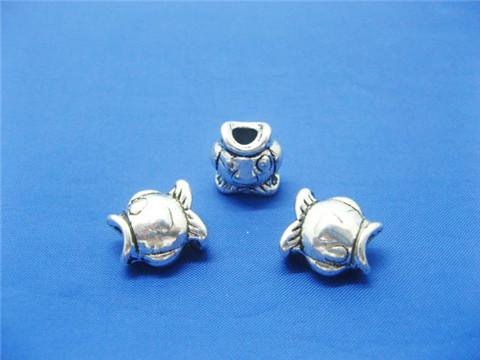 100 silver plated alloy metal Fish Pandora Beads