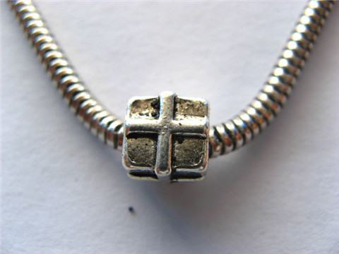 100 Silver Plated Alloy Square Pandora Beads ac-sp378