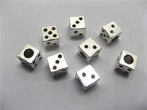 100 Charms Metal Dice Pandora beads ac-sp512
