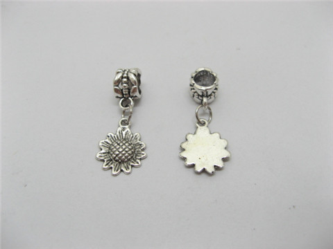 50 Metal Pandora Beads with Sunflower Dangle Charm pa-b3