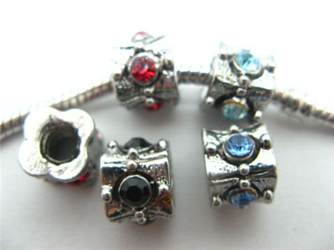50 Alloy Charms Pandora Thread Beads With Rhinestone ac-sp42