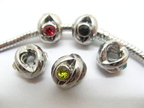 50 Alloy Fit Pandora Beads With Rhinestone ac-sp424