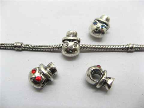 20 Nickel Plated Pandora Thread Beads With Rhinestone
