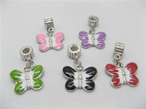 50 Enamel Pandora Thread Beads with Butterfly pa-m70