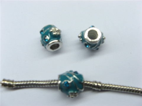 10 Blue Barrel Enamel Pandora Thread Beads with Rhinestone
