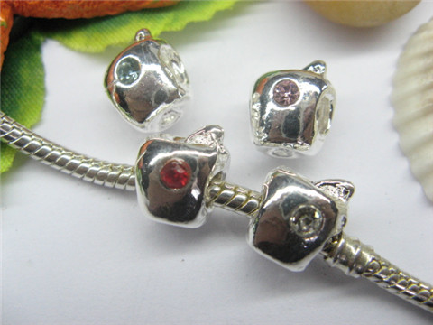 20 Silver Apple Pandora Thread Beads with Rhinestone pa-m210
