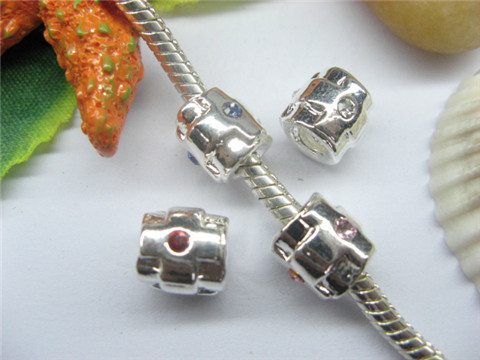 20 Silver Barrel Pandora Thread Bead with Rhinestone pa-m21