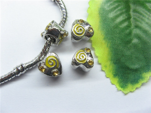 20 Alloy Yellow Enamel Heart Thread Pandora beads pa-m232