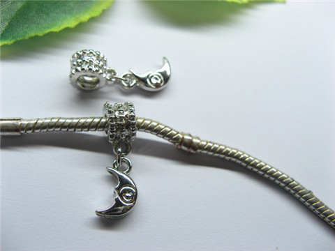 20 Alloy Thread Pandora beads with Crescent Dangle pa-m235