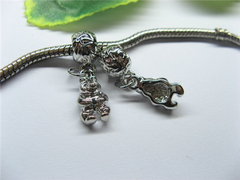 20 Alloy Round Thread Pandora beads with Dangle pa-m240
