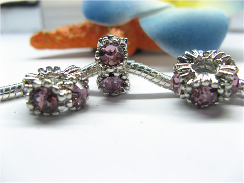 20 Thread Pandora Beads with Purple Rhinestone