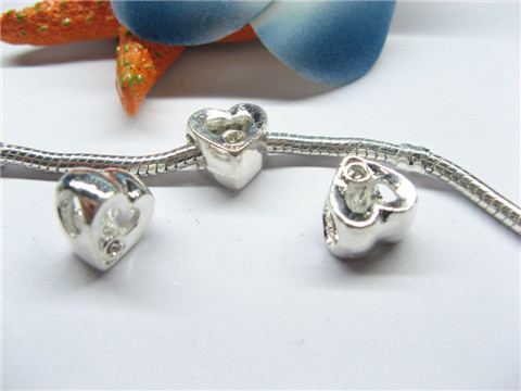 20 Silver Plated Heart Thread European Beads