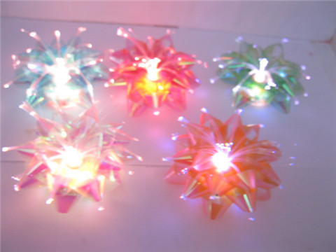 24 Flashing Optical Fiber Flower Glowing Bow Mixed Color