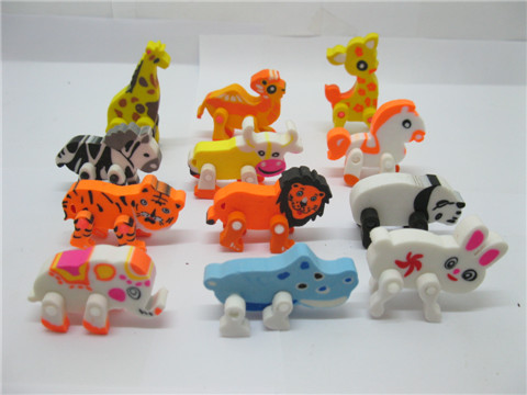 60Pcs Lovely Animals Shaped Erasers Assorted