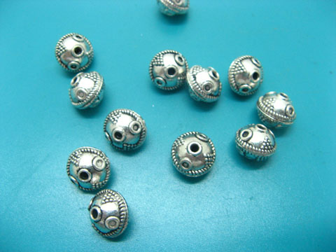 100 Silver Carved Ball Beads Spacer Finding ac-sp287