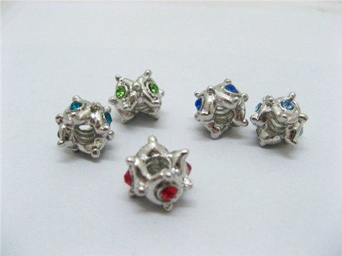 20 Metal Pandora Thread Beads with Rhinestone pa-m124
