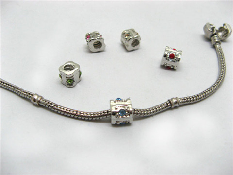 20 Metal Thread Pandora Beads With Rhinestone