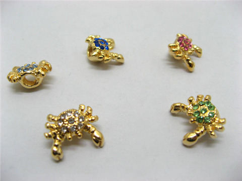 20 Golden Plated Crab Thread Pandora Beads