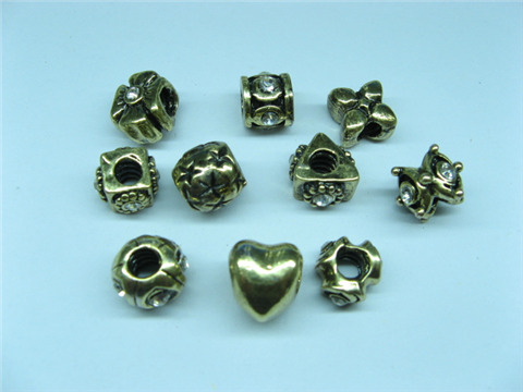 20 Asorted Bronze Plated Thread Pandora Beads Charm