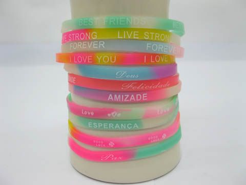 98 Silicone Bracelet Glow in Dark Mixed 5mm Wide