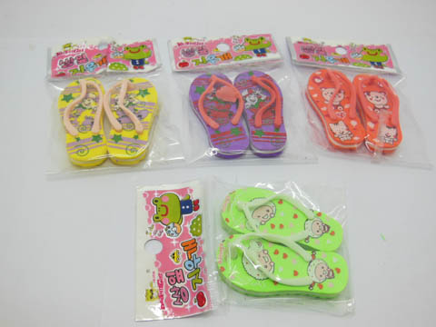 45Packet X 2Pcs Slippers Shaped Erasers 54x25mm Mixed
