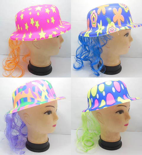 10 New Hat With Wig Costume Prop Party Favor