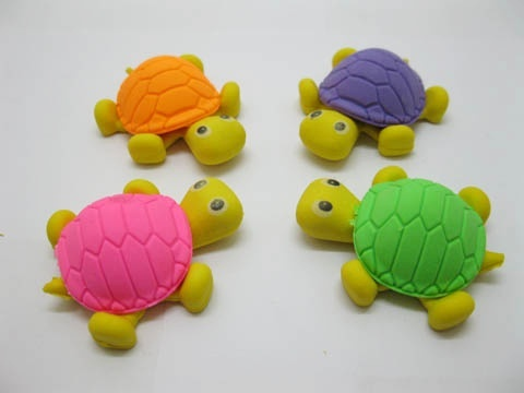 36Pcs Novelty Cartoon Tortoise Shape Erasers Mixed Color