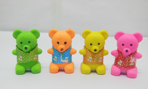 20 Little Bear Erasers w/Pencil Sharpener Mixed Color