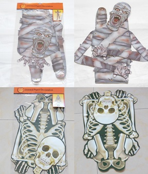 10 Paper Skeleton Skull Scary Mummy Scary Decorative Toy