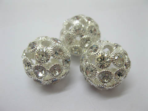 10Pcs Silver Plated Hollow Rhinestone Ball Beads 21mm