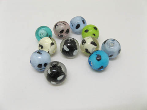 80X 16mm Silver Foil Lampwork Round glass beads