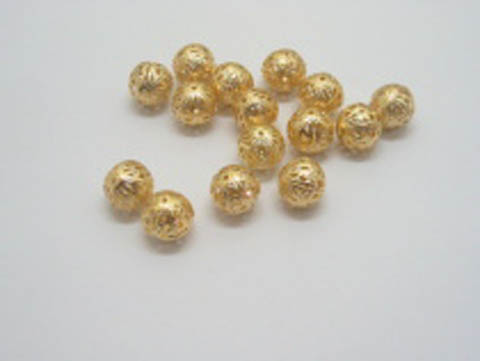 500 8mm Golden plated filigree spacer Jewelry beads