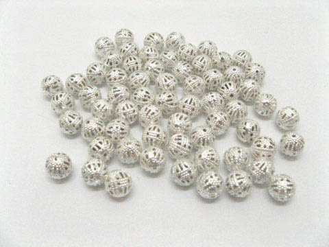 500 Silver Plated Filigree Spacer Beads 8mm ac-sp229